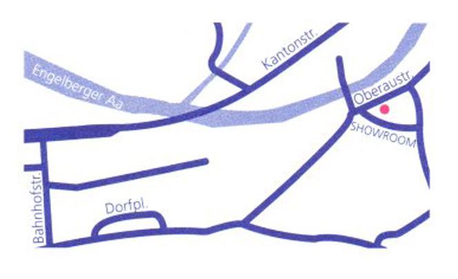 Eine Karte mit dem Standort des Showrooms.